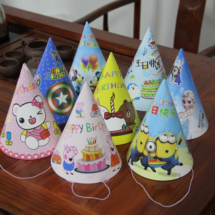 2Pcs Cartoon Series Birthday Party Hat DIY Toy Accessories Party Set Birthday Party Decoration Children Gift Party Kids Hat Toys