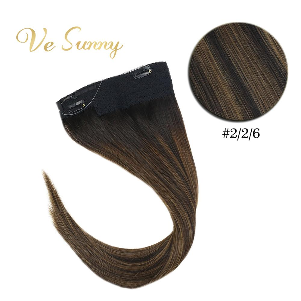VeSunny Invisible Halo Hair Extensions 100% Natural Human Hair Flip Wire With Clips Balayage Dark Brown To Medium Brown #2/2/6