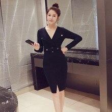 Large Size Solid OL Office Work Blazer Dress Women with Button Split Casual Autumn Dresses Deep V-neck Corset Midi