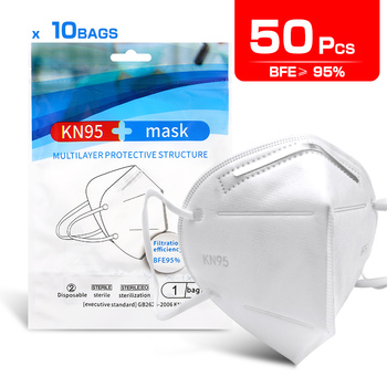 50pcs KN95 Mask Dust Proof Anti-fog And Breathable Face Masks 95% Filtration Mouth Masks 4-Layer KN95 Mask Filter Reusable