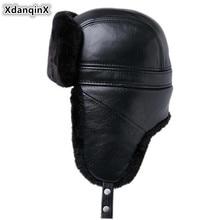 XdanqinX 2019 New Men's Winter Fur Hat Thick Velvet Bomber