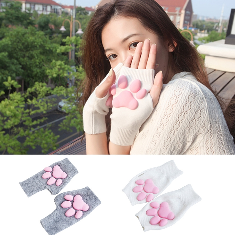 UV Sun Protection Stretchy Cute Cat Claw Fingerless Sleeves Tattoo Cover Up Outdoor Sports Arm Sleeves Cute Warm Gloves