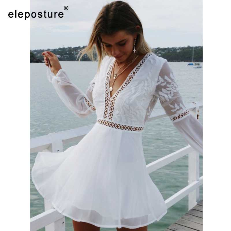 2019 Sexy Hollow Out Kant Strand Jurk Lange Mouwen Beach Cover Up Vrouwen Bikini Badmode Cover Up Badpak Cover -Ups Beachwear