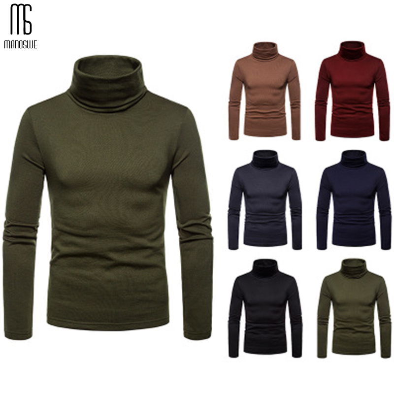 Manoswe Autumn Winter Warm Men's Slim Long Sleeve Bottoming Shirt Solid Sweater Jumper High Neck Stretch Pullover Men Undershirt