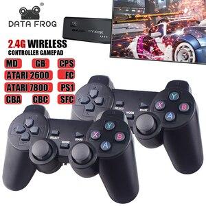 Image 1 - נתונים צפרדע Y3 לייט 10000 משחקים 4K משחק מקל טלוויזיה וידאו משחק קונסולת 2.4G אלחוטי בקר עבור PS1/SNES 9 אמולטור רטרו קונסולה