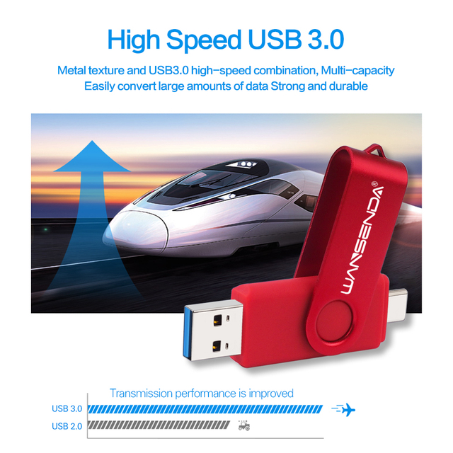New WANSENDA USB 3.0 TYPE C USB Flash Drive OTG Pen Drive 512GB 256GB 128GB 64GB 32GB 16GB USB Stick 2 in 1 High Speed Pendrive 4