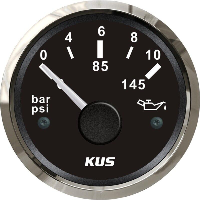 100% tout nouveau 52mm manomètres à huile compteurs de pression de carburant 0-10bar 12/24V pour bateau Automobile Tuning couleur noire 0-145Psi