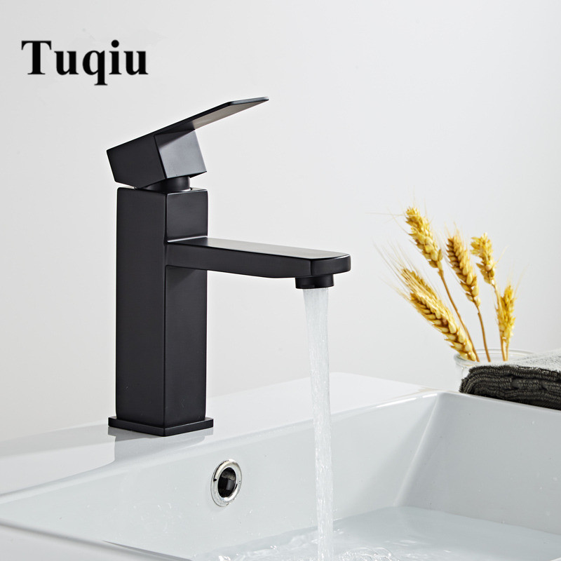 Bathroom Basin Faucet Black Baking 304 Stainless Steel  Sink Mixer Tap Hot & Cold Sink Faucet  Bathroom Lavotory Faucet|Basin Faucets| |  - AliExpress