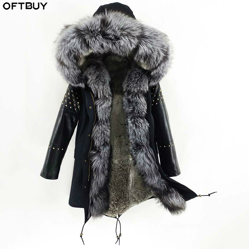 OFTBUY Long Parka Real Fur Coat Winter Jacket Women Natural Sheepskin Leather Rivet Sleeves Rabbit Lining Outerwear Streetwear