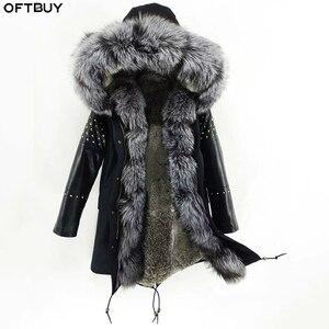 Image 1 - OFTBUY ארוך אמיתי Parka פרווה מעיל חורף מעיל נשים טבעי כבש עור מסמרת שרוולים ארנב רירית הלבשה עליונה Streetwear