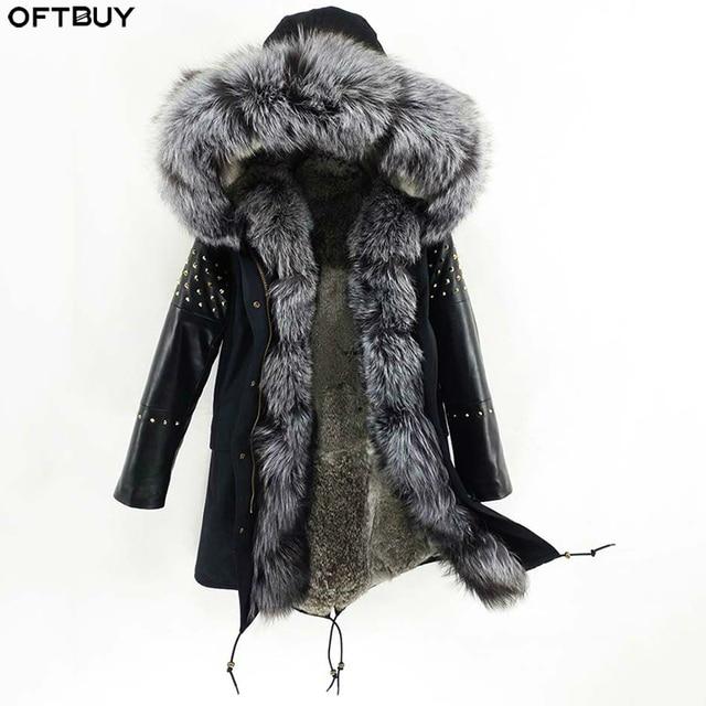OFTBUY ארוך אמיתי Parka פרווה מעיל חורף מעיל נשים טבעי כבש עור מסמרת שרוולים ארנב רירית הלבשה עליונה Streetwear