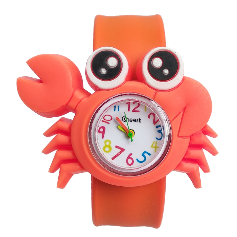Cute Crab Shape Kids Watches Soft Silicone Band Children Watch Boys Girls Clock Child Quartz Waterproof Watch Relogio Infantil