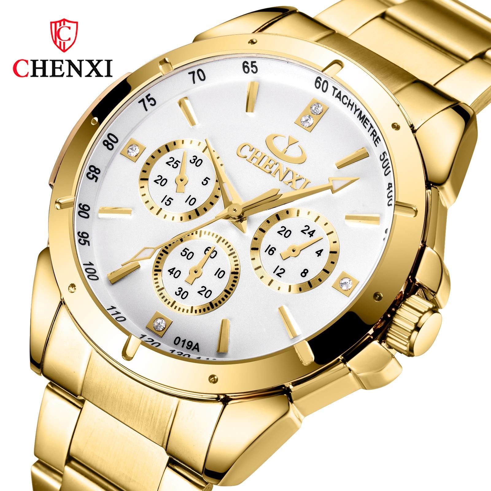 2019 CHENXI Top Brand Men Women Luxury Golden Quartz Couple Wristwatch Waterproof Full Stainless Steel Clock Mens Ladies Watches