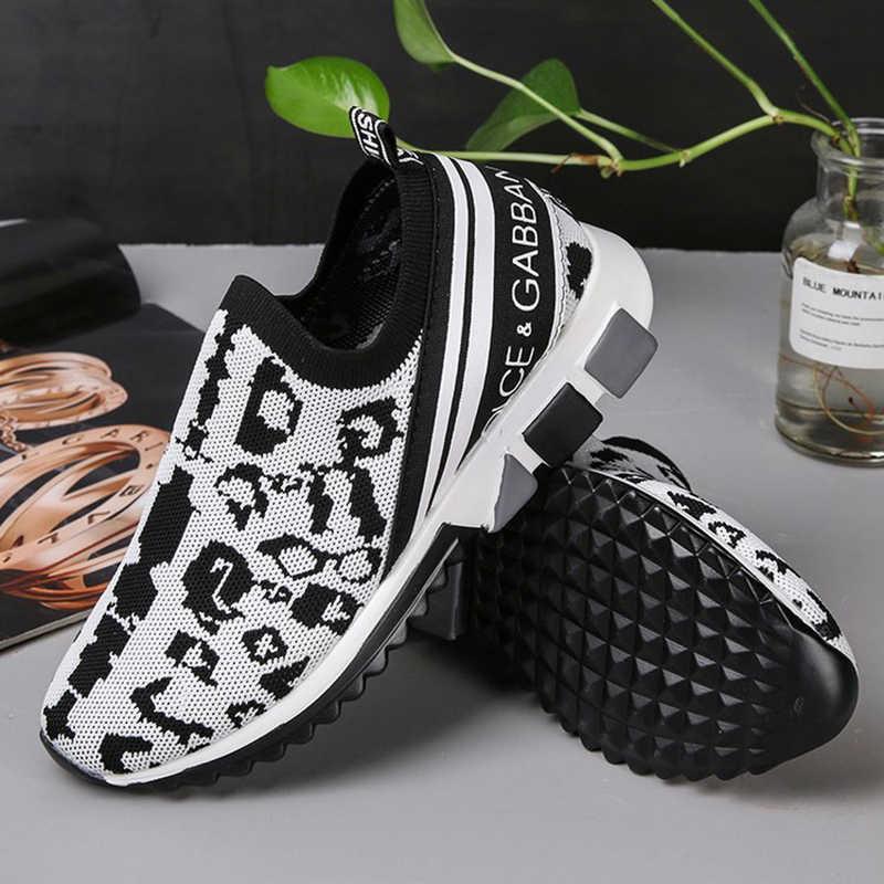 REETENE moda kadın rahat ayakkabılar üzerinde kayma düz ayakkabı kadınlar nefes örgü kadın spor ayakkabı örgü çorap Sneakers artı Size35-43