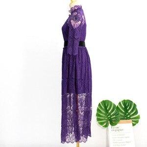 Image 4 - 紫色のブローチレース肘スリーブ女性のためのベルトデルルナホテル同じ IU リー智ジョンウン夏気質甘いドレス
