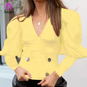 Yellow Vintage Long Puff Sleeve Palance Blouse Women Autumn Rivet V Neck Shirts Slim Office Lady Top Casual Blusas Mujer De Moda image