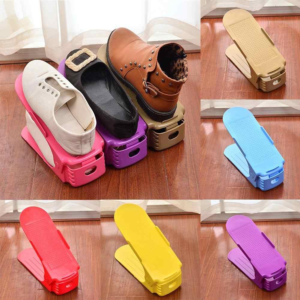 Regulowane podwójne warstwy zagęścić uchwyt na buty stojak do przechowywania oszczędność miejsca organizator środowiska trwałe buty do przechowywania organizator