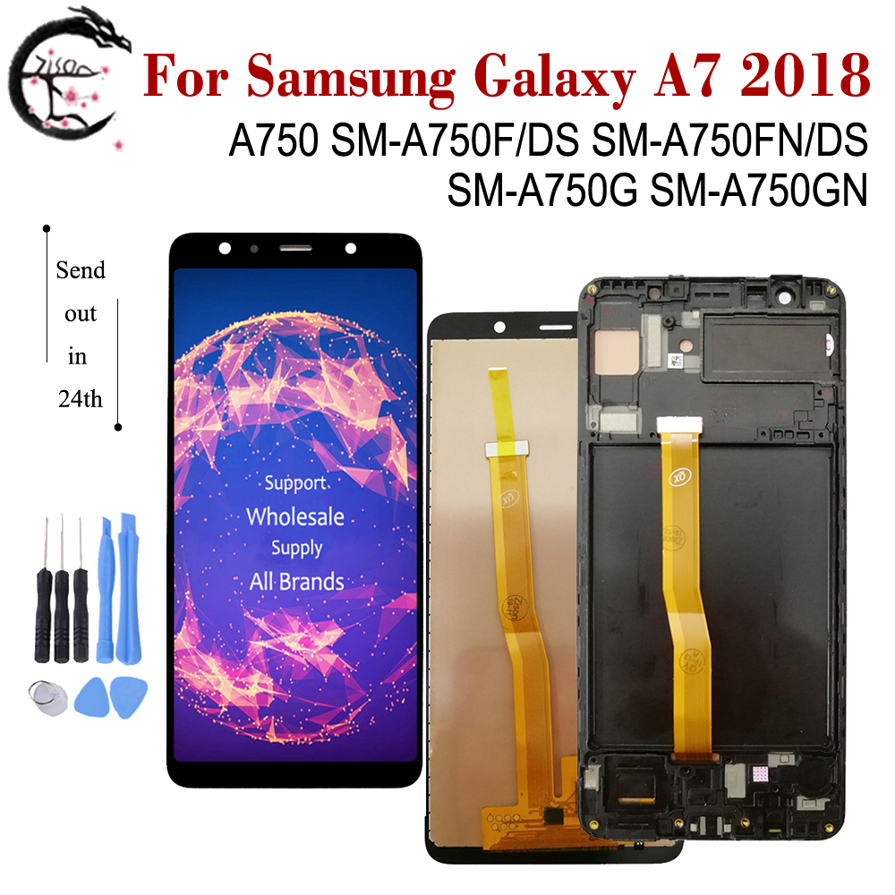 AMOLED LCD For <font><b>SAMSUNG</b></font> <font><b>Galaxy</b></font> <font><b>A7</b></font> <font><b>2018</b></font> <font><b>Display</b></font> A750 LCD SM-A750FN/DS A750F A750G A750GN Screen Touch Sensor Digitizer Assembly image