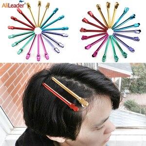 Alileader 12 unids/caja de pico de pato Clips de Metal fuerte clip de acero inoxidable peluquería herramientas para hacer pelucas y estilo de pelo