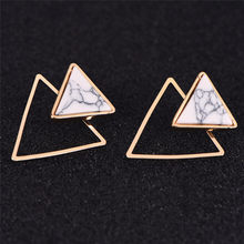 1pair Earrings Women Geometric Round/Square/Triangle Faux Marbled Stone From India pendientes Punk Stud Earrings(China)