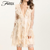 Sexy V Neck Ruffles Lace Dress Women Long Sleeve See Through Autumn Casual Dress Going Out A Line Party Dresses