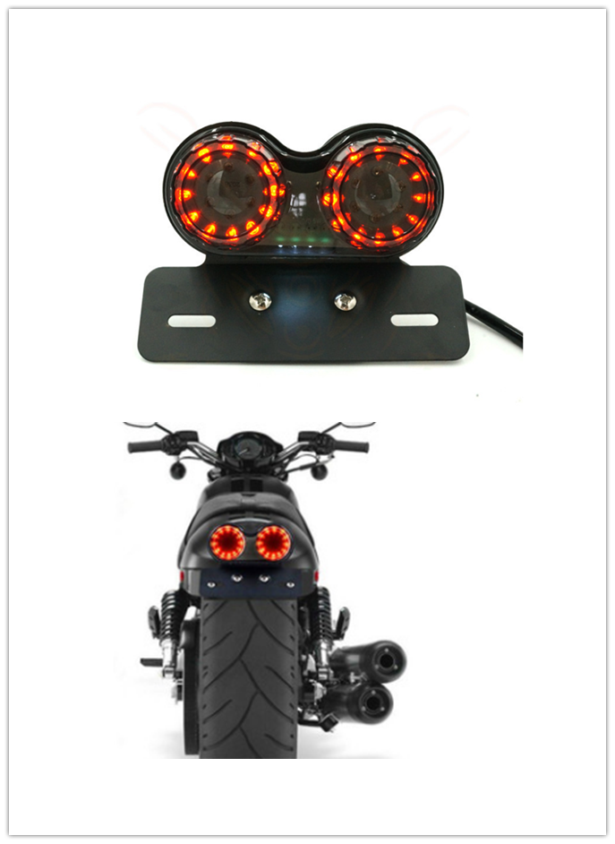 Fit Cafe Racer Chopper Bobber Red Rear Round license Tail Brake Stop Light Lamp