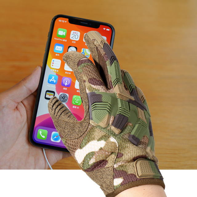 Tactical Army Full Finger Gloves Touch Screen Military Paintball Airsoft Combat Rubber Protective Glove Anti-skid Men Women New 3