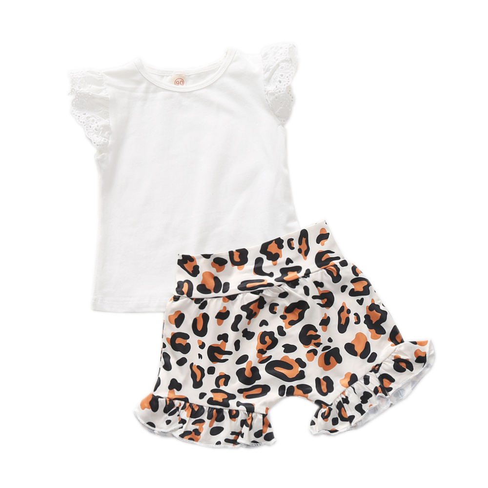 0 3T Newborn Baby Girl Clothes Set White Lace Fly Sleeve T shirt Top Leopard Bloomer Short Pant Outfit Toddler Clothes Set in Clothing Sets from Mother Kids