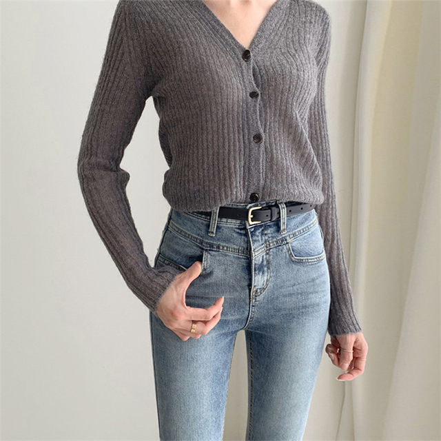 Ailegogo 2020 Autumn Winter Women's V-Neck Sexy Knitwear Stylish Knitted Button Cardigans Korean Lady Sweaters SWC2205 5