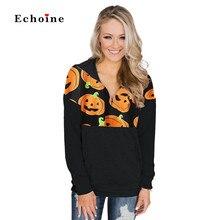 Women Hoodie 1/4 Zip Halloween Pumpkin Pullover Long Sleeve Sweatshirt Print O-Neck Long Sleeve Casual Sportswear Ladies Outwear цена