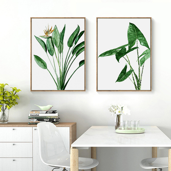 Cuadros de lienzo de plantas verdes con hojas de Alocasia escandinavas modernas,...