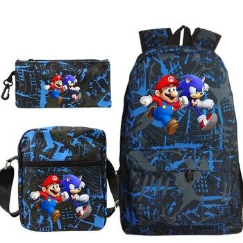 3pcs/set Mario Sonic Backpack Mochila Bag Women Men School Bag Fashion Travel Bag Laptop Bagpack With Crossbody Bag Pen Bags
