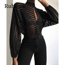 Rubilove Stripes Keyhole Front Mesh Blouse Women See Through Hollow Out Womens Tops and Blouses Sexy Party Top 2019 недорго, оригинальная цена