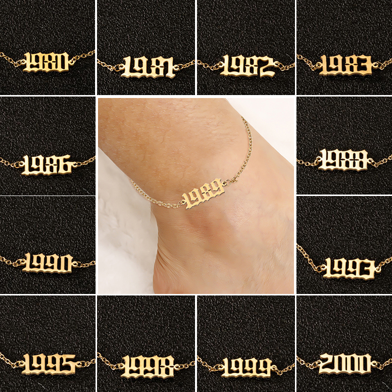 Stainless Steel Ankle Bracelet 1980 to 2000 Year Number Anklets for Women Birthday Year Anklet Leg Bracelets Summer Beach