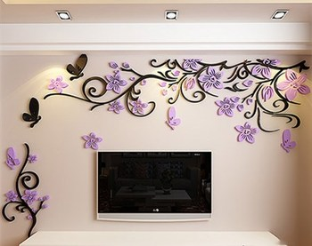 DIY Removable Vinyl Flower Wall Sticker Modern Decals For Wall Decor TV Background Decoration Mural Wallpaper For Living Room 16