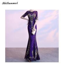 Purple Sequin Party Long Dress Women Elegant Plus Size Sequined Mermaid Luxury Mesh Half Sleeve Evening Maxi Vestidos