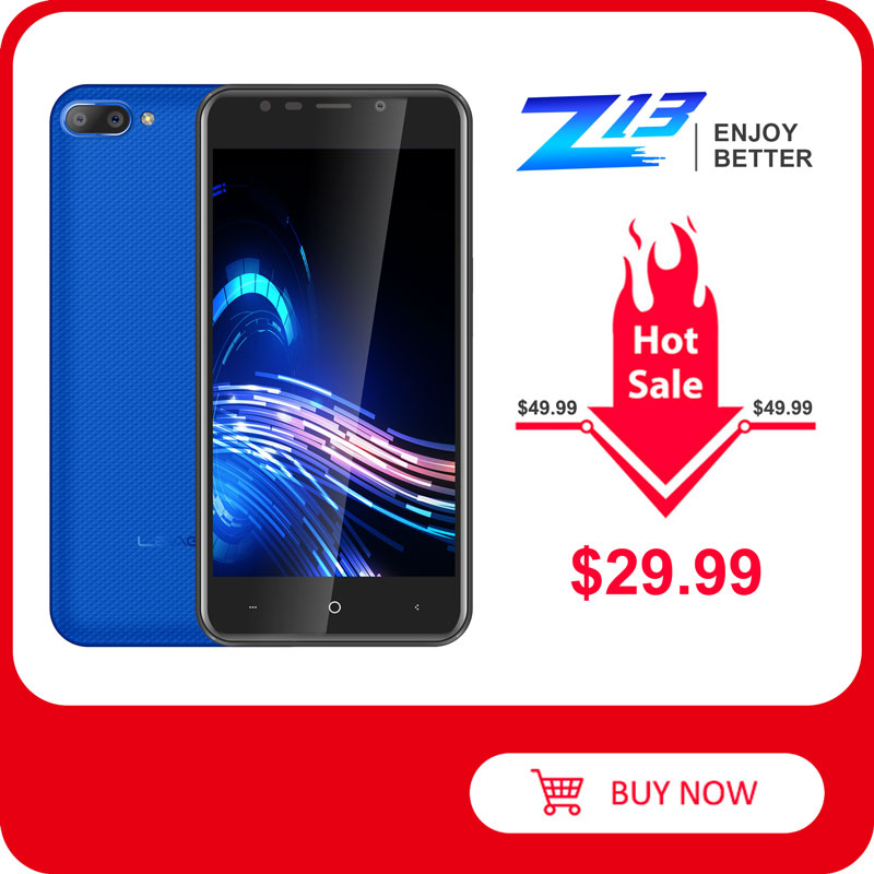 "LEAGOO Z13 Mobile Phone 5.0"" IPS Screen 1GB RAM 8GB ROM Dual Rear Camera Dual SIM 2000mAh Android Quad Core 3G Smartphone"