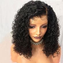 13*4 Bob kręcone koronki przodu włosów ludzkich peruk dla czarnych kobiet z dzieckiem włosy Glueless oskubane brazylijski Remy krótki Bob Sassoon Bob tanie tanio Koronki przodu peruk Remy włosy Ludzki włos Ciemniejszy kolor tylko Swiss koronki 1 sztuka tylko Peruka Pół maszyny wykonane i pół ręcznie wiązanej