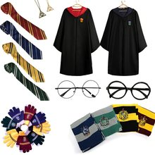 Kid Adult Robe Cloak Costume For Children Tie Glove Scarf Magic School Uniform Wizard Cosplays Men Women Halloween Party Costume