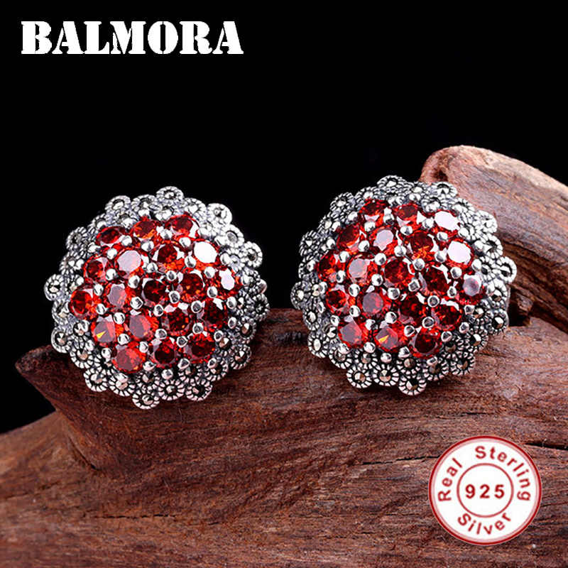 BALMORA Real 925 Sterling Silver Red Garnet Retro Stud Earrings for Women Lover Party Gifts Elegant Ethnic Boho Fashion Aretes