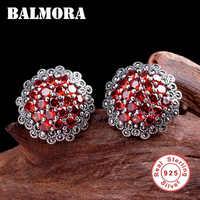 BALMORA Echt 925 Sterling Silber Rot Granat Retro Stud Ohrringe für Frauen Liebhaber Party Geschenke Elegante Ethnische Boho Mode Aretes