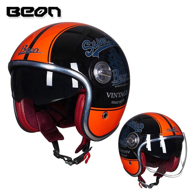 BEON B108A motorcycle helmet beon 3/4 open face dual lens visor vintage helmets retro casque Moto Casque Casco Capacete 3