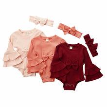 Комплект из 2 предметов; боди для новорожденных девочек; зимний трикотажный комплект одежды с оборками и расклешенными рукавами; Однотонный комбинезон; повязка на голову