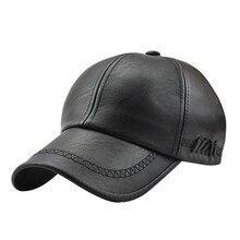 Высококачественная кожаная кепка для мужчин, однотонная зимняя бейсболка из искусственной кожи, s брендовая бейсболка, кепка Bone Masculino, облегающие шапки# A