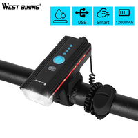 WEST BIKING torcia per bici luce anteriore con clacson ricarica USB induzione faro per ciclismo torcia impermeabile luce per bicicletta a LED