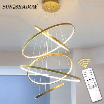 Led Pendant Light Modern Ceiling Lamp For Living room Dining Kitchen Hanging Black White 4rings 40 60 80 100cm
