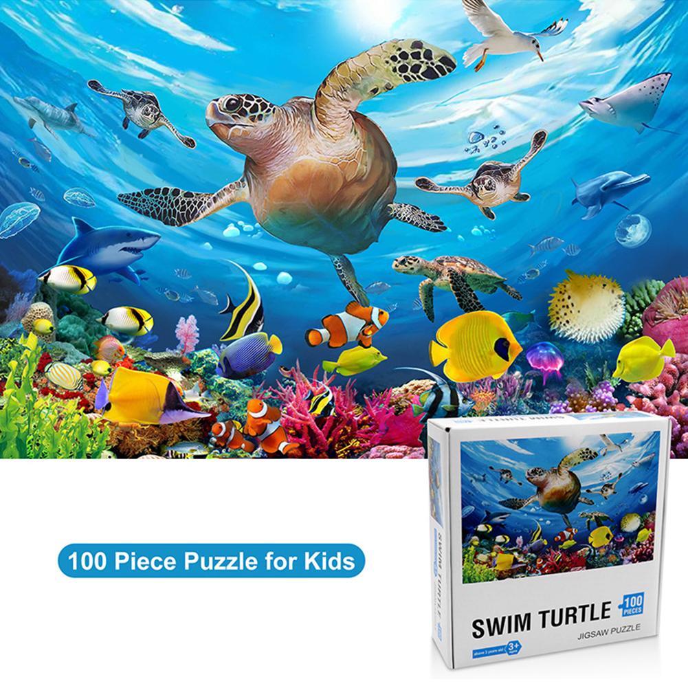 Подводный мир головоломка 100 штук образовательная головоломка игра игрушки Пазлы игрушки для детей от 4 до 8 лет