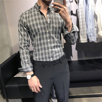 Men Shirt Plaid Long Sleeve Black Dress Shirts Social Slim Fit Male Business Casual Cotton Office Formal Blouse French Cuff Gray