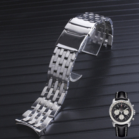 Solid 316L Stainless Steel Watchbands Silver 22mm 24mm Metal Watch Band Strap Wrist Watches Bracelet for bretiling