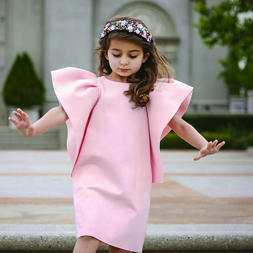 Goodlock Toddler Infant Kids Fashion Dress Baby Girls Dress Solid Ruffle Sun Dresses Clothes Outfits